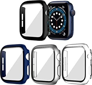 BHARVEST 4 Pack Hard PC Case Compatible with Apple Watch Series 6/5/4/SE 40mm, Case with Tempered Glass Screen Protector Overall Bubble-Free Cover for iWatch Accessories, Black+Blue+Silver+Clear