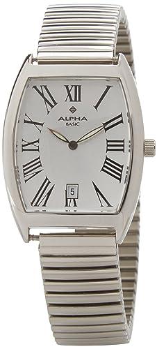 Alpha Saphir Reloj Analógico para Hombre de Cuarzo con Correa en Acero Inoxidable 116B-1: Amazon.es: Relojes
