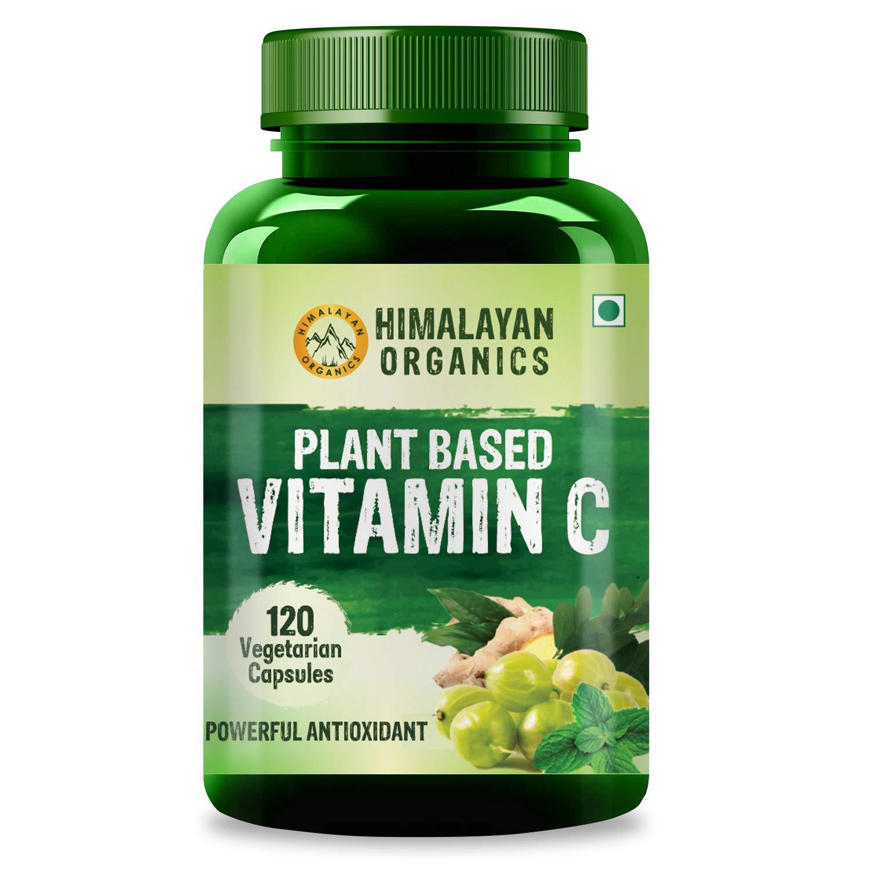 Himalayan Organics Plant Based Vitamin C (120 Veg Capsules) from Amla, Moringa, Ginger & Mint Leaves - for Immunity & Glowing Skin