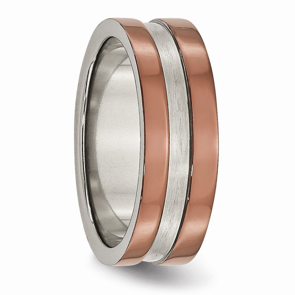 Bridal Wedding Bands Decorative Bands Titanium Grooved 8mm Brown IP-plated Polished with brushed Center Band Size 8