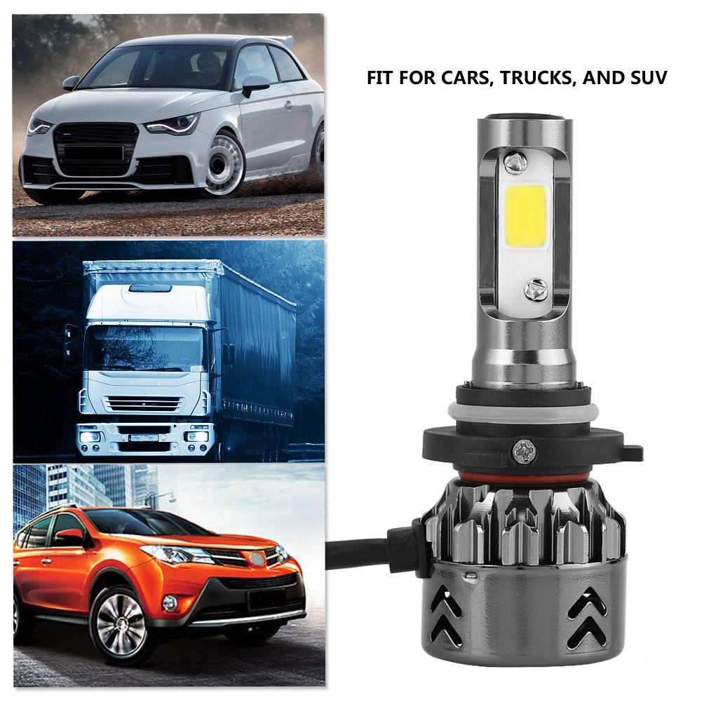 KIMISS 1 par de Mini6 LED Kit de faros de coche 8000LM 6000K Bombilla de Alto Poder ultra Silenciosa(9006): Amazon.es: Coche y moto
