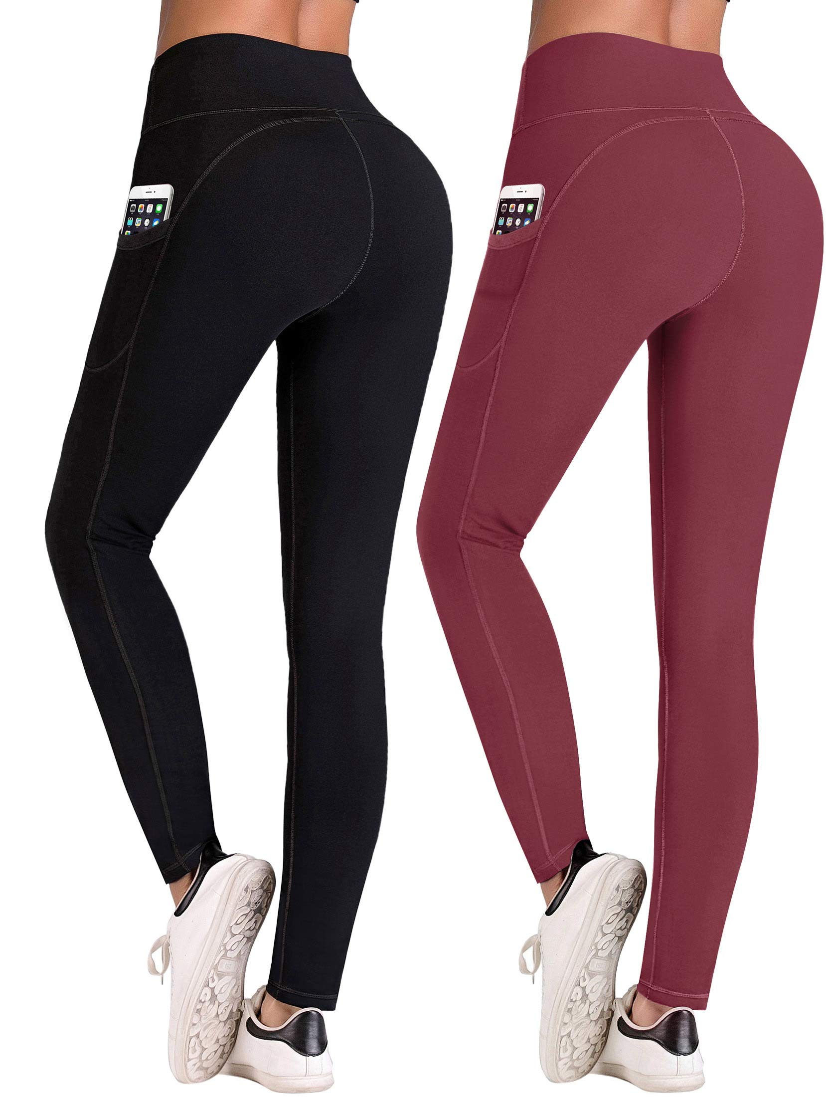 IUGA High Waist Yoga Pants with Pockets, Tummy Control, Workout Pants for Women 4 Way Stretch Yoga Leggings with Pockets(Black/Wine 2Pack, XX-Large)