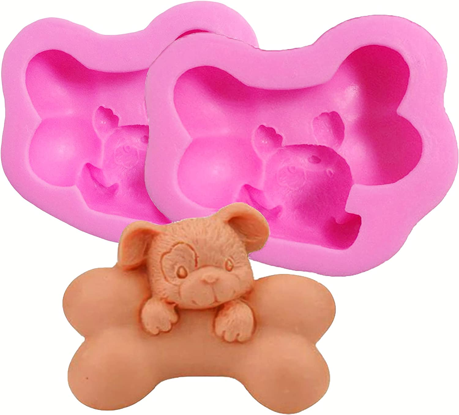 HengKe 2 Pieces 3D Puppy With Big Bone Molds Cute Puppy Soap Molds,Food Grade Cake Molds Chocolate Icing,Biscuit Decor,Polymer Clay Fondant Cake Dog Molds Cake Baking Moulds Dog Molds