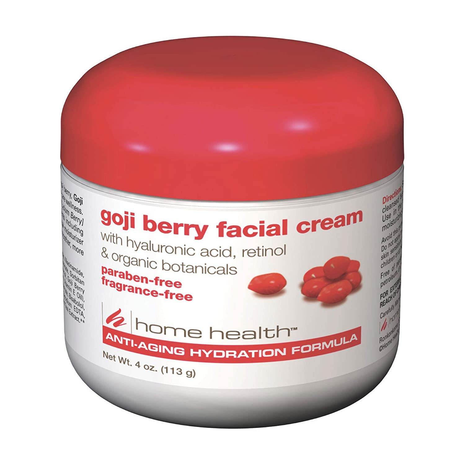 Home Health Goji Berry Facial Cream - 4 oz - Moisturizing & Anti-Aging Hydration Formula, Reduces Appearance of Wrinkles, Protects, Hydrates & Revitalizes Skin - Paraben-Free, Fragrance-Free, Vegan