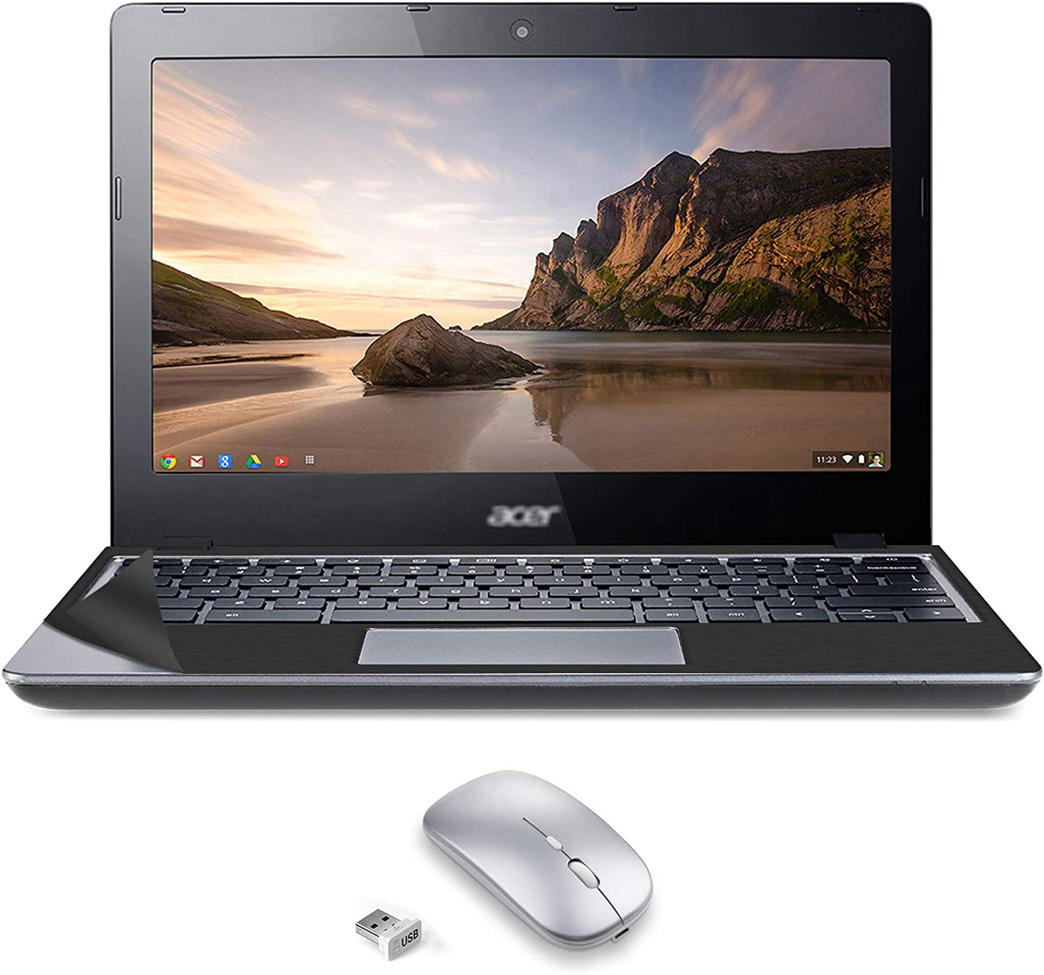 Used Chromebook Laptop C720 11.6 Inches Computer Intel Celeron 2955U Processor 2GB RAM 32GB eMMC SSD (with USB Mouse- Touch pad Can't Work) with Computer Skin in A Cover PC Notebook Chrome OS