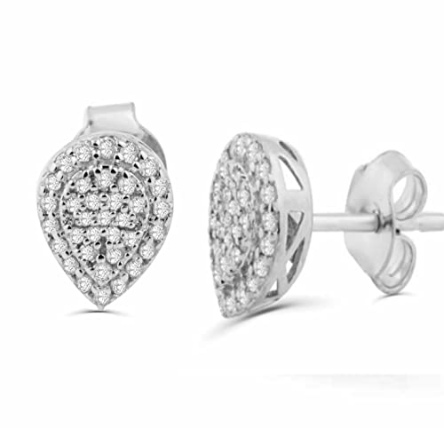 f029edf13dd34 Amazon.com: 10K Gold Diamond Earrings Pear Shaped Cluster Pave Set 1 ...