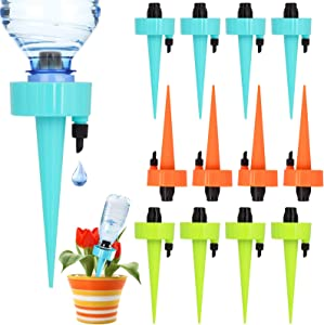 Kingwora Plant Self Watering Devices - 12 Pack Automatic Irrigation Equipment Plant Water with Slow Release Control Valve, Adjustable Water Volume Drip System for Home and Vacation Plant Watering