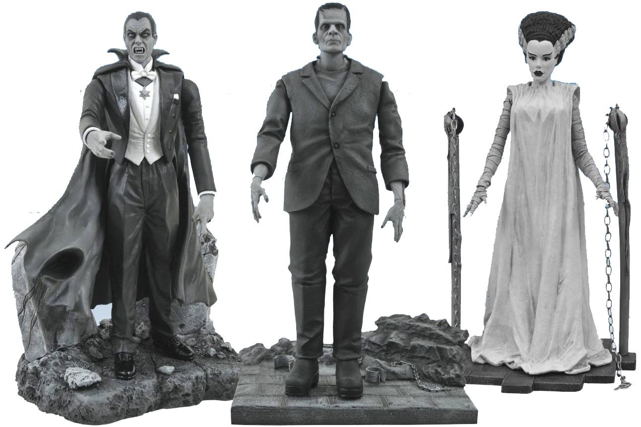 DIAMOND SELECT TOYS Universal Monsters Black-and-White Legacy Series 3 Figure Set