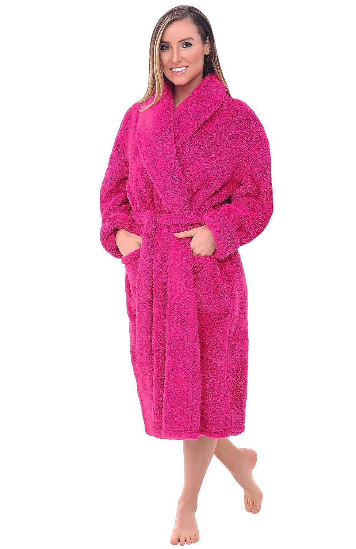Magenta Pink Del Rossa Women's Fleece Robe, Plush Microfiber Bathrobe