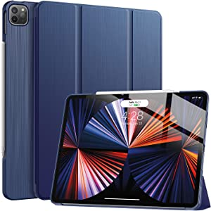 Soke New iPad Pro 12.9 Case 2021(5th Generation) - [Slim Trifold Stand + 2nd Gen Apple Pencil Charging + Smart Auto Wake/Sleep],Premium Protective Hard PC Back Cover for iPad Pro 12.9 inch(Navy)