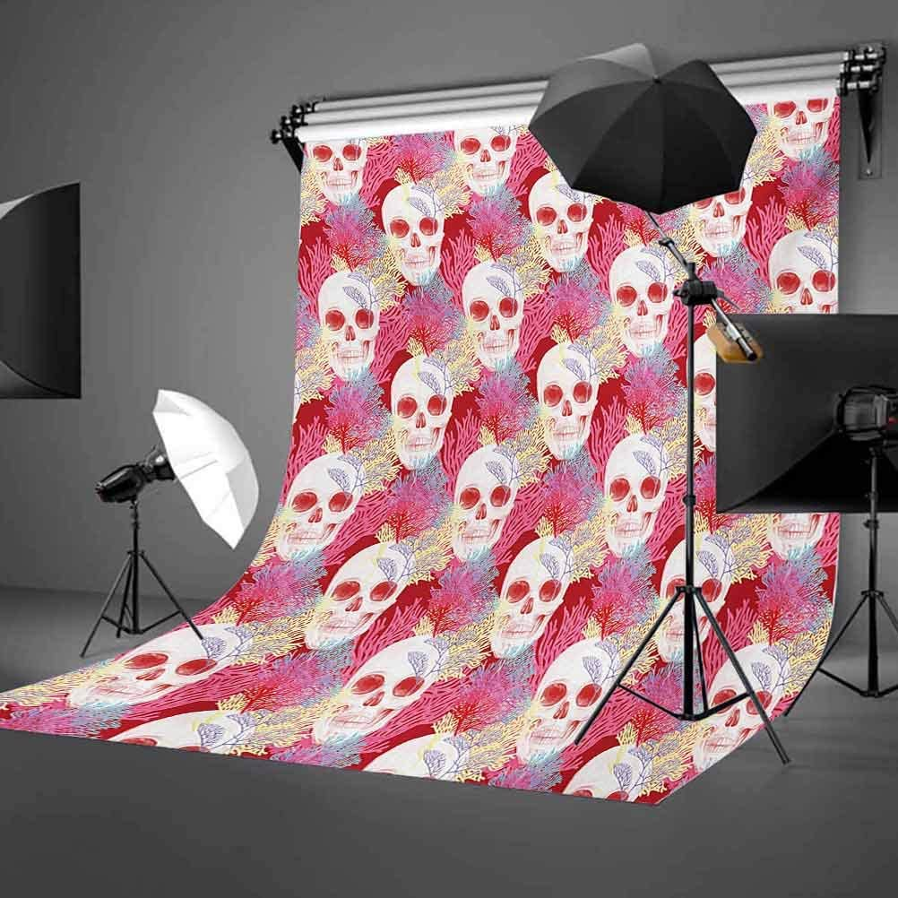 6.5x10 FT Backdrop Photographers,Double Exposured Graphic Mexican Skull Bones and Exotic Creepy Dead Icon with Plants Background for Photography Kids Adult Photo Booth Video Shoot Vinyl Studio Props