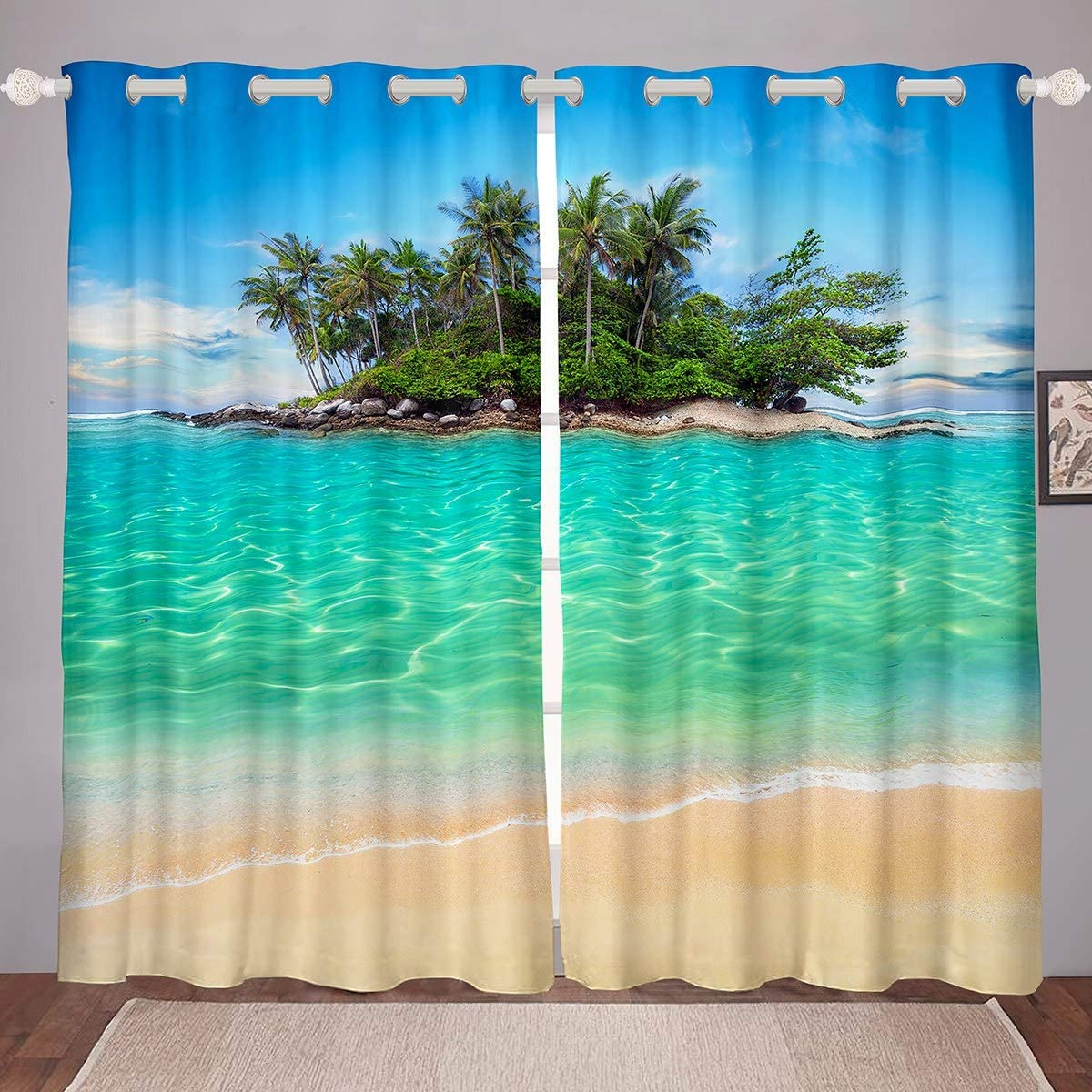 Feelyou Tropical Fish Window Drapes Marine Life Ocean Theme Curtain for Kids Boys Girls Underwater Animal Curtains for Bedroom Sealife Blackout Curtain Darkening Thermal Panel Curtains 104X 63