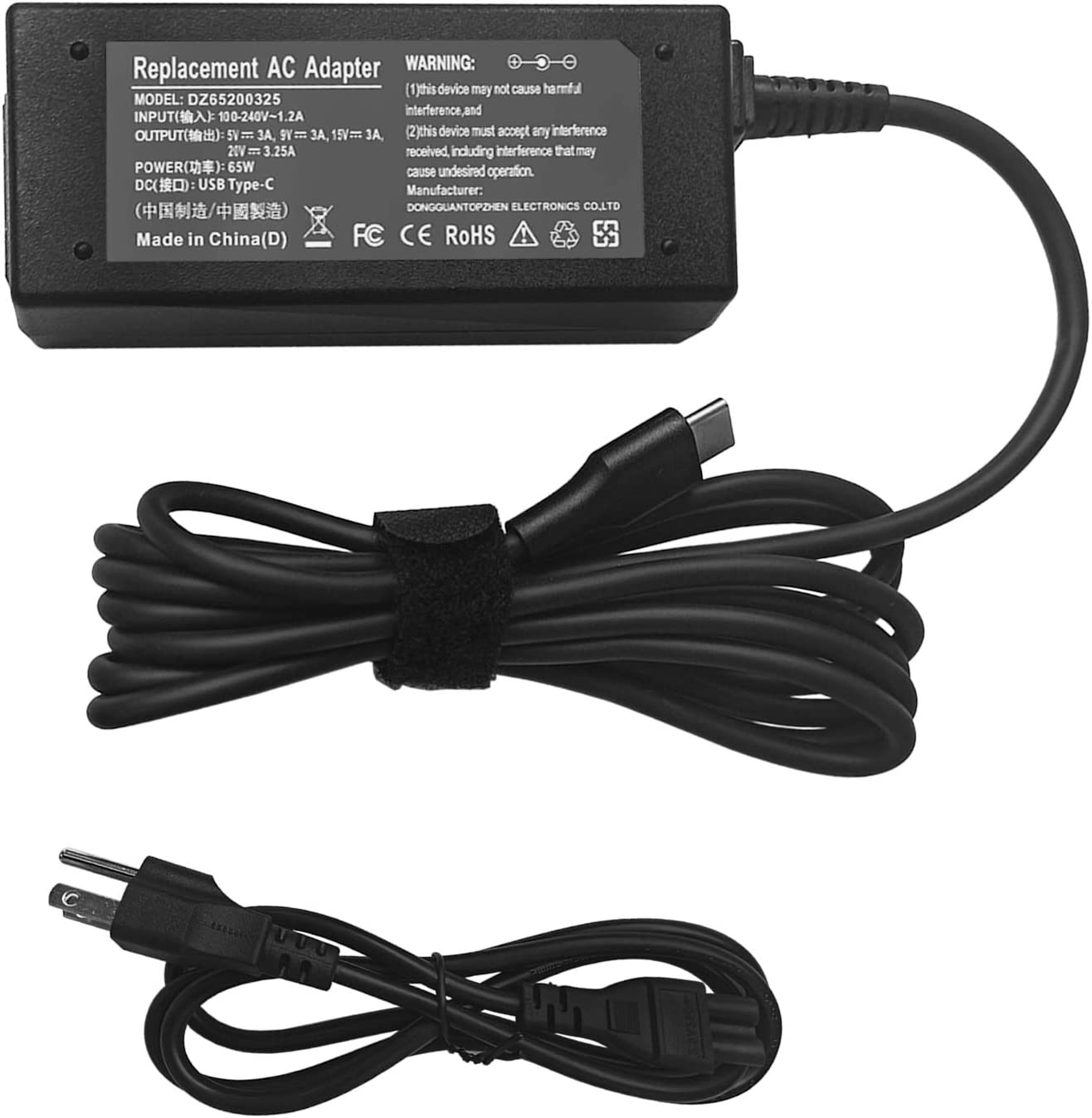 65W Type- C Laptop Charger Compatible with HP/Dell/Lenovo Chromebook C330 S330 100e 300e 500e Yoga C930 C940 720 ThinkPad T480 T490 T570 T580 with USB C Charging Cable