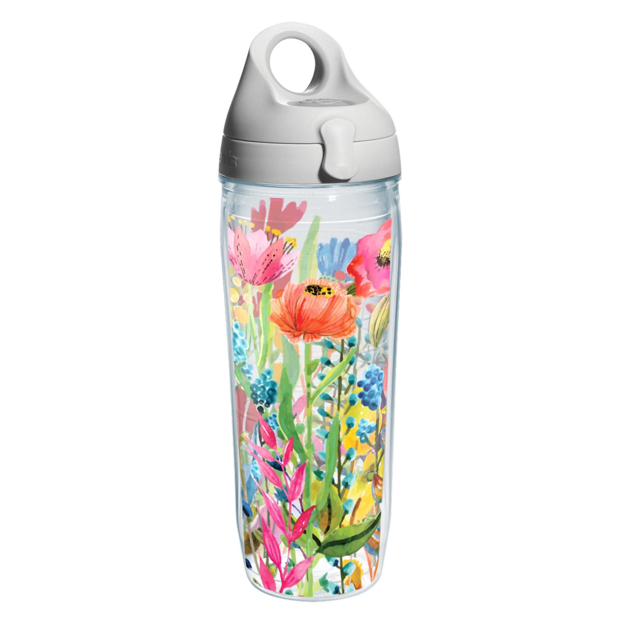 Tervis 1208550 Watercolor Wildflowers Wrap Water Bottle with Grey Water Bath Lid, 24 oz, Clear