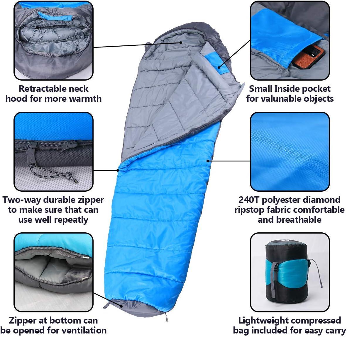 Saco de Dormir Momia 3 Temporadas,Ligero Excursionismo Mochilero Compacto Resistente al Agua Viajes Ideal para Acampar