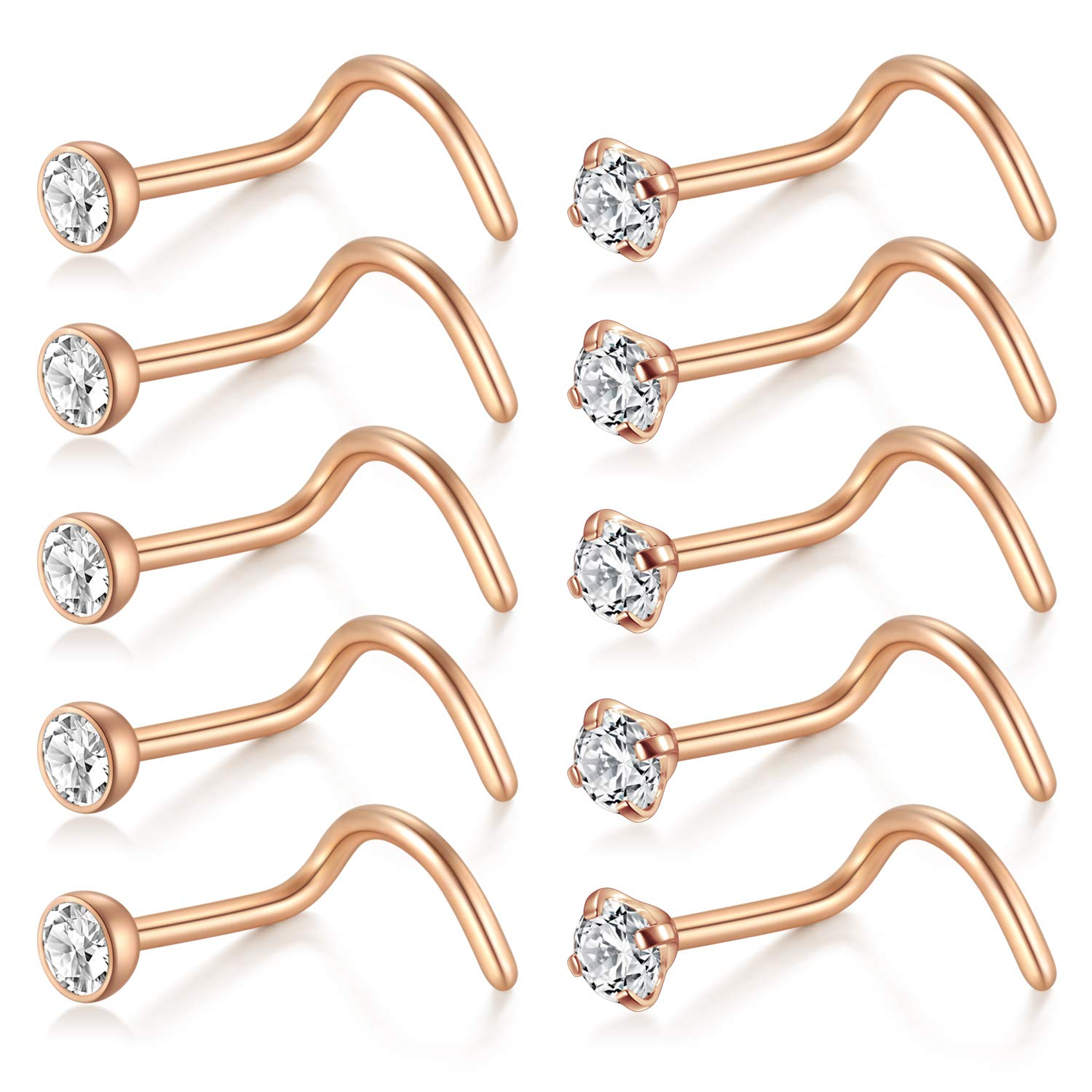 D.Bella Nose Rings 10Pcs 18G Nose Screw Rings Studs Surgical Steel Piercing Jewelry 2mm Clear CZ Z-DB-7