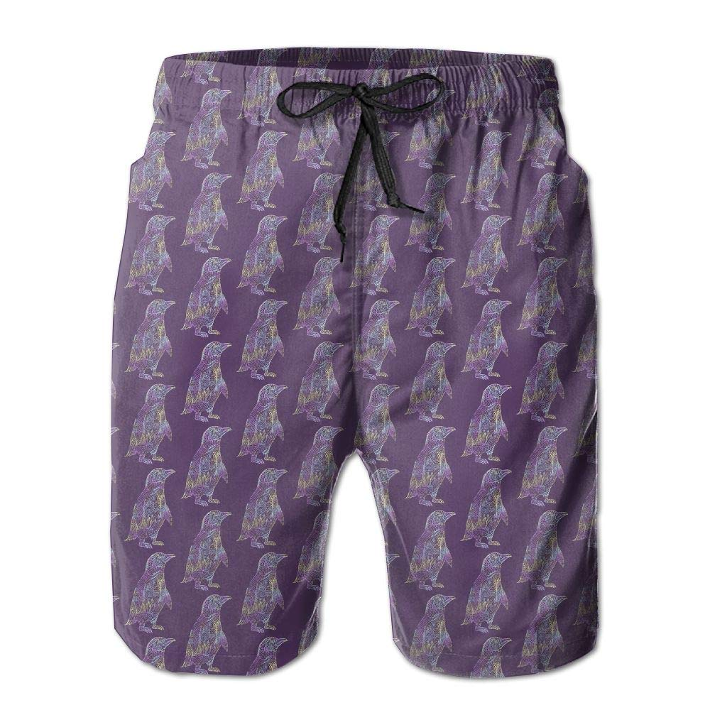 Penguin Mens Swim Trunks Quick Dry Bathing Suits Summer Casual Surfing Beach Shorts