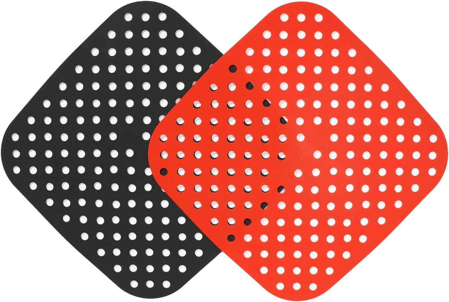 Reusable Air Fryer Liners – 8.5 Inch Square, Non-Stick Silicone Air Fryer Mats | Air Fryer Accessories For Cosori 5.8 Qt, Ninja, Instant Pot Vortex, Phillips, Power XL, and More | BPA Free (2-Pack)