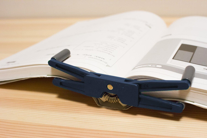 FlipKlip - Portable Book Holder, Page Holder, Book Clip, Cookbook Stand Holder (Blue) BlueZap