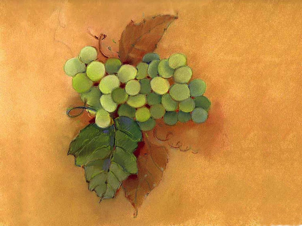 McGowan TufTop Small Tempered Glass Kitchen Board, Grapes Cluster