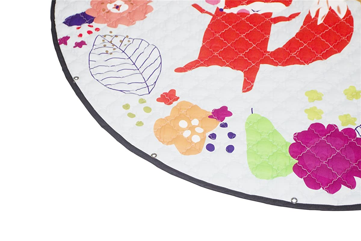 INCX Kids Play Mat/Rugs and Toy Organizer Storage Cotton 58x58 Inch Foxs