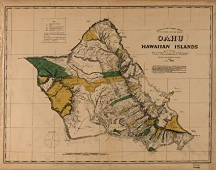 photo about Printable Map of Oahu called : Typical 1881 Map of Oahu, Hawaiian Islands