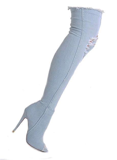 Piccoli monelli ♚ Stivali Donna Estivi con Tacco a Spillo Alto Alla Coscia Elasticizzati a Calza Spuntato con Strappi in Jeans Blu Chiaro TG 36