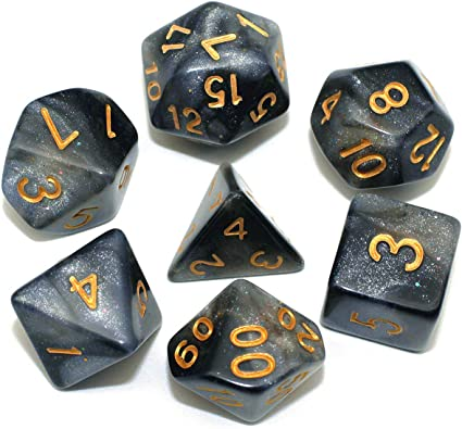 Honeycomb | Dungeons and Dragons 7 Yellow /& Black Swirled Acrylic Dice Set DnD