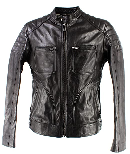 Belstaff - Weybridge 2017 Biker Jacket, 46 Black: Amazon.es ...