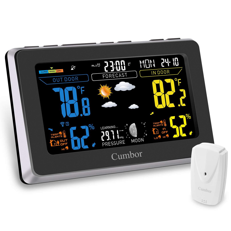 Cumbor Weather Stations with Wireless Indoor Outdoor Sensor, Digital Color Forecast Temperature & Humidity Alerts, Pressure, Alarm Clock