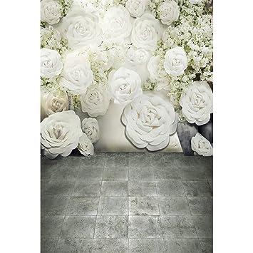 Digital Bedruckte 3D weiß Rosen Wand Hintergrund: Amazon.de: Kamera