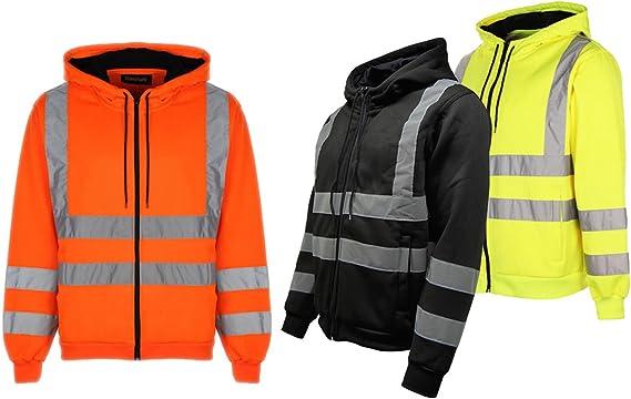 Homme Sweat à capuche haute visibilité visibilité de sécurité à capuche Zip Sweat Veste de travail Top EN471