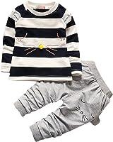 2PCS Baby Boys Girls Cartoon Clothing Set Long Sleeve Shirt and Pants