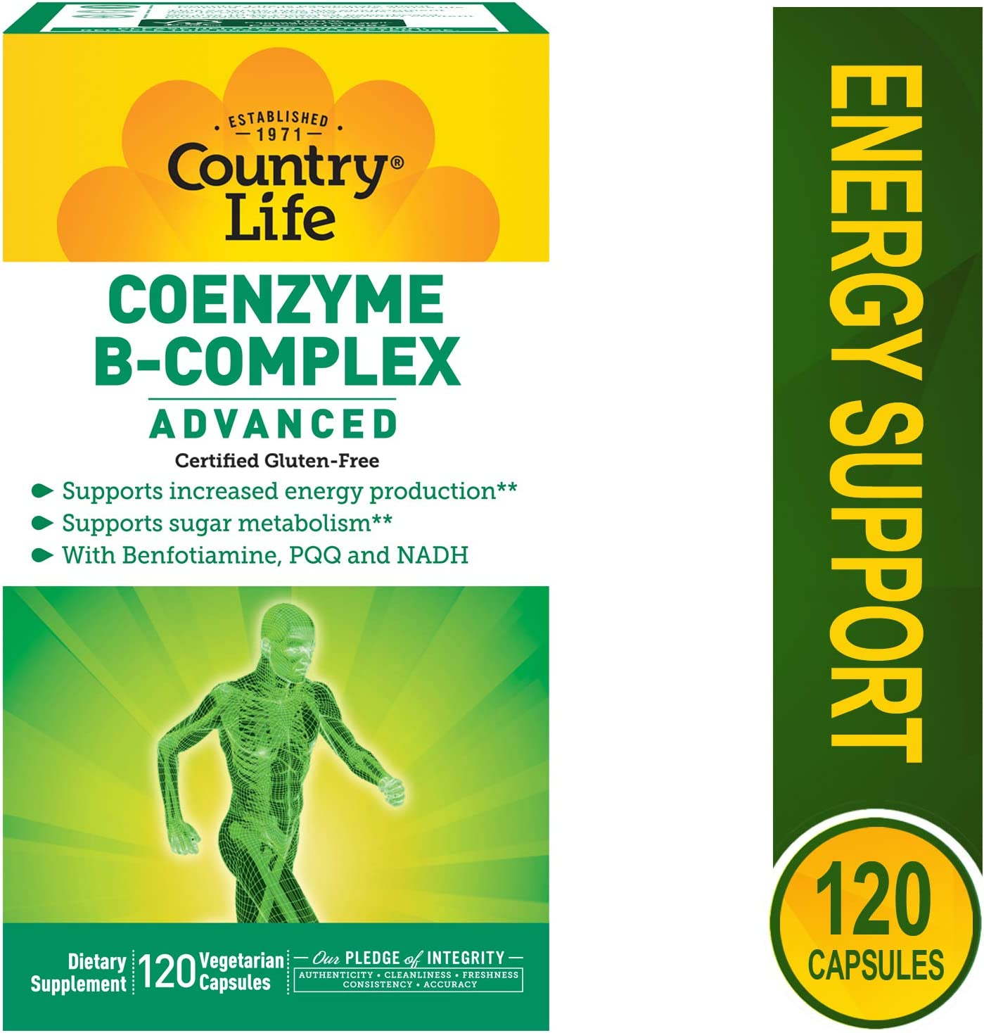 Country Life Coenzyme B Complex Advanced – 120 Vegetarian Capsules – Supports Energy Production – Sugar Metabolism