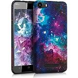 kwmobile Funda para Wiko Lenny 2 - Case para móvil en TPU silicona - Cover trasero Diseño universo en multicolor rosa fucsia negro