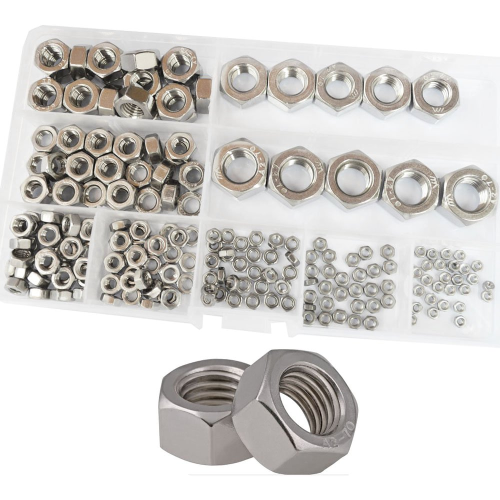 Hex Nuts Metric Coarse Thread nut Assortment Kit 304 Stainless Steel 210Pcs,M2 M2.5 M3 M4 M5 M6 M8 M10 M12
