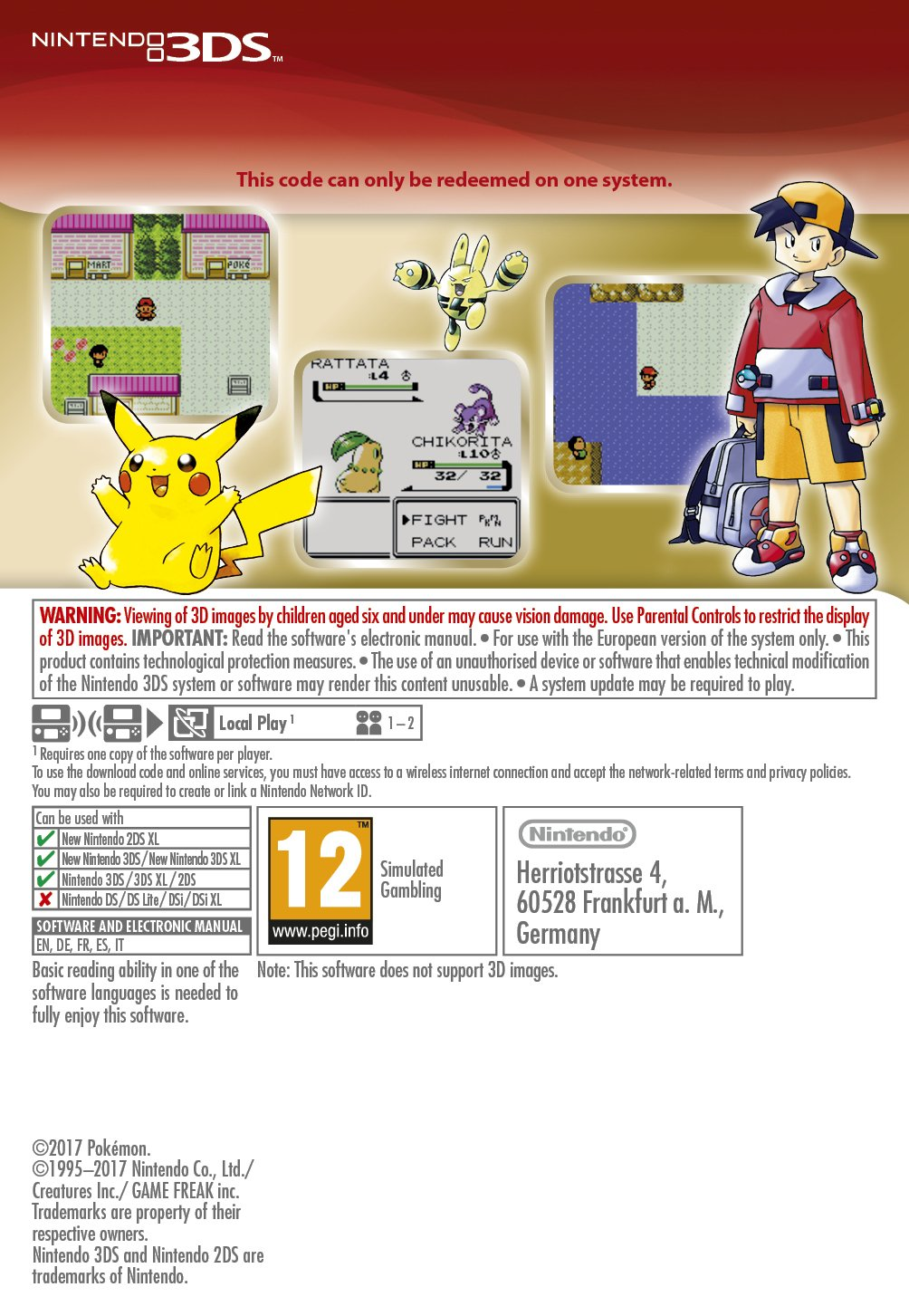 Pokémon Red Game Boy [3DS Download Code]: Amazon co uk: PC & Video Games