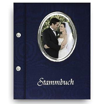 Blau Familienstammbuch aus Buchbinderleinen Personalisierung Hochzeitideal Stammbuch der Familie Nr 17 inkl