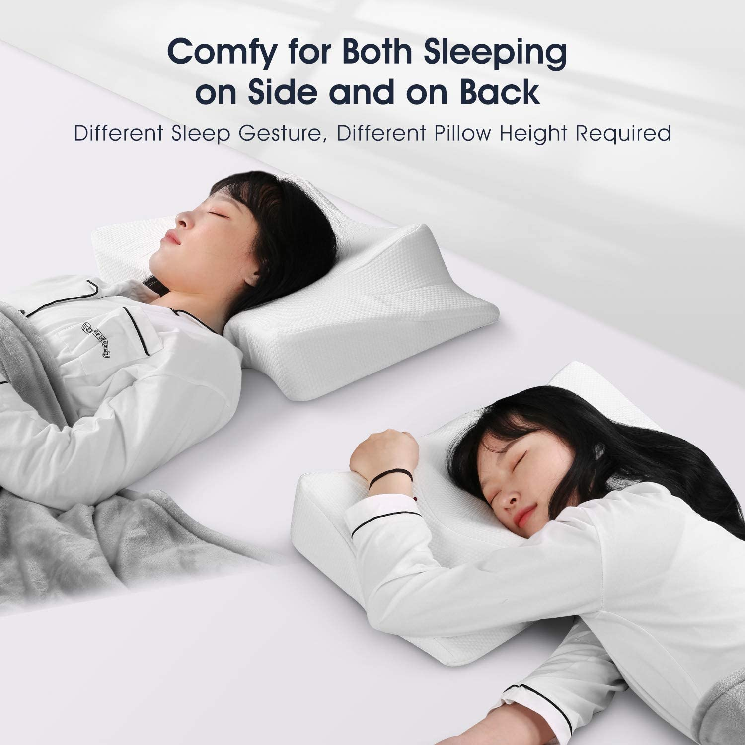 MARNUR Neck Pillow for Sleeping, Cervical Support Orthopedic Contour Memory Foam Pillow for Neck and Shoulder Pain Relief Sleeping, Suit for Sleeper on Side and Back, with Washable Pillow Case Cover: Home & Kitchen