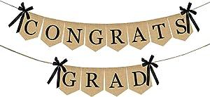 Burlap Congrats Grad Graduation Banner - No DIY Required | Rustic Vintage Graduation Decorations Sign for College Grad Party and High School Graduation Party Supplies 2020