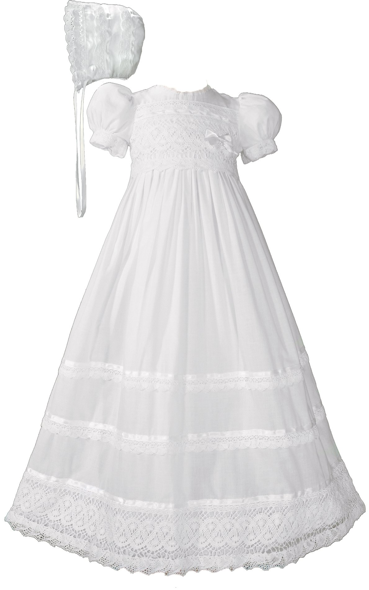 Girls Cotton Short Sleeve Dress Christening Gown Baptism Gown with Laces and Ribbon 6M