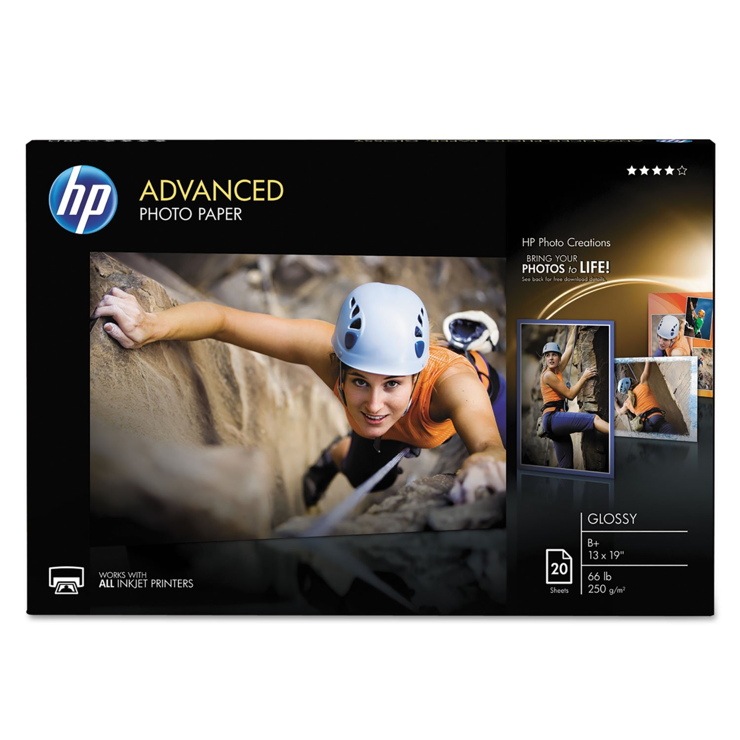 HP CR696A Advanced Photo Paper, 66 lbs, Glossy, 13 x 19, 20 Sheets/Pack