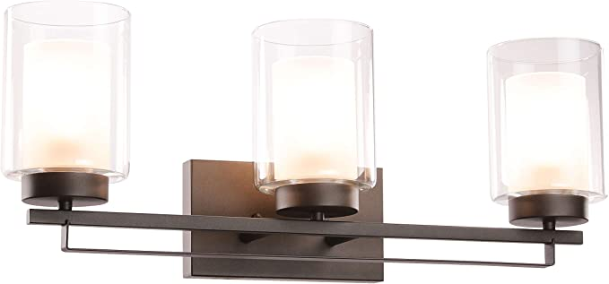3 light Bronze vanity bathroom wall lights with clear straight glass