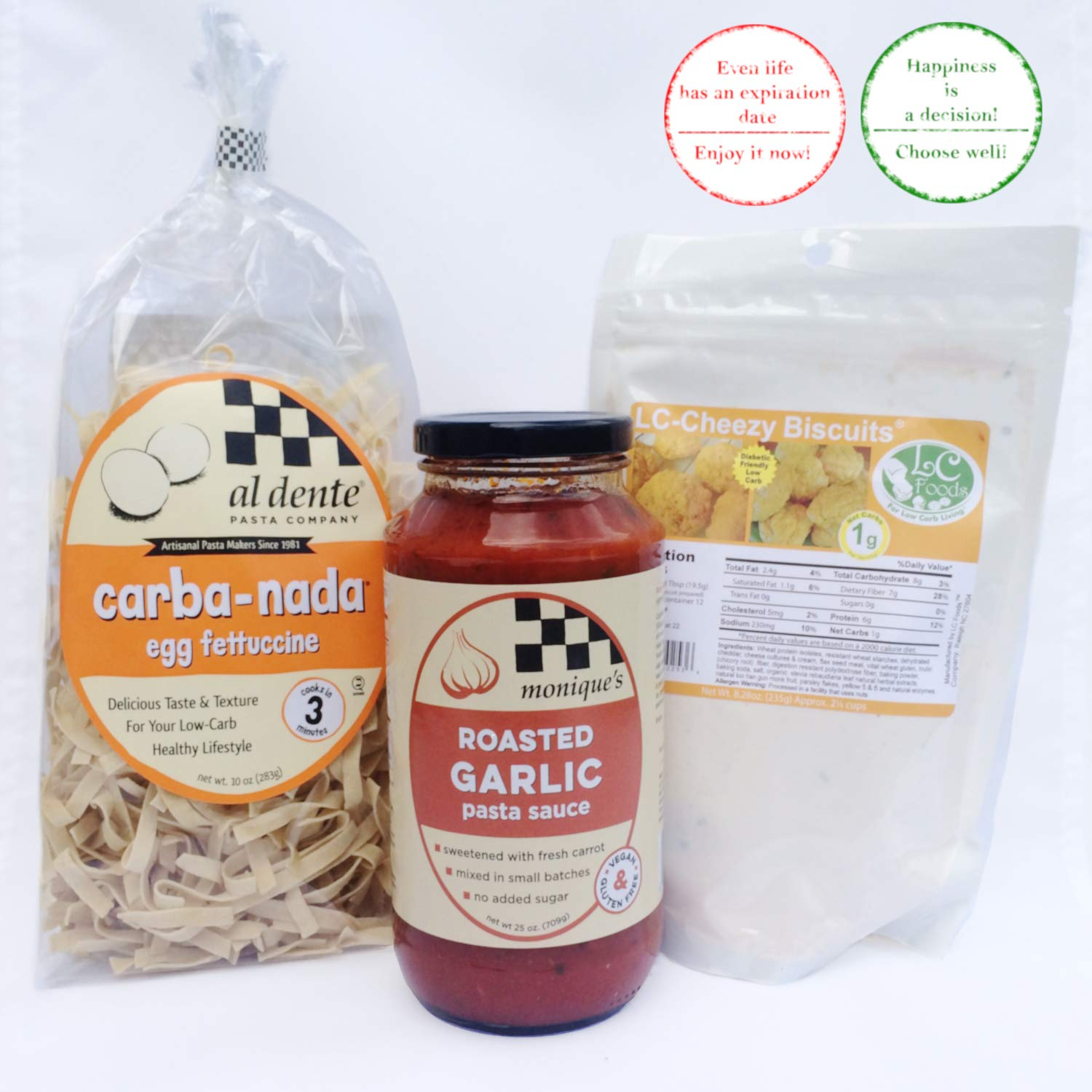 Keto Products, Diabetic Foods, Al Dente Pasta Co. Carba Nada Egg Fettuccine + Monique's Roasted Garlic Sauce + LC Foods Cheezy Biscuit Mix Bundle, High Protein Noodles