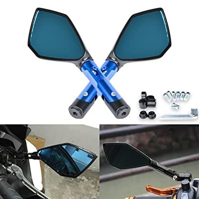 KATUR Motorcycle Handlebar End Mirrors Rear View Mirror Blue Motorbike Anti Glare Bluish Hawk-Eye Mirrors 8MM 10MM Clockwise Threaded Bolts Mounts for Kawasaki Suzuki Honda Victory Chopper: Automotive