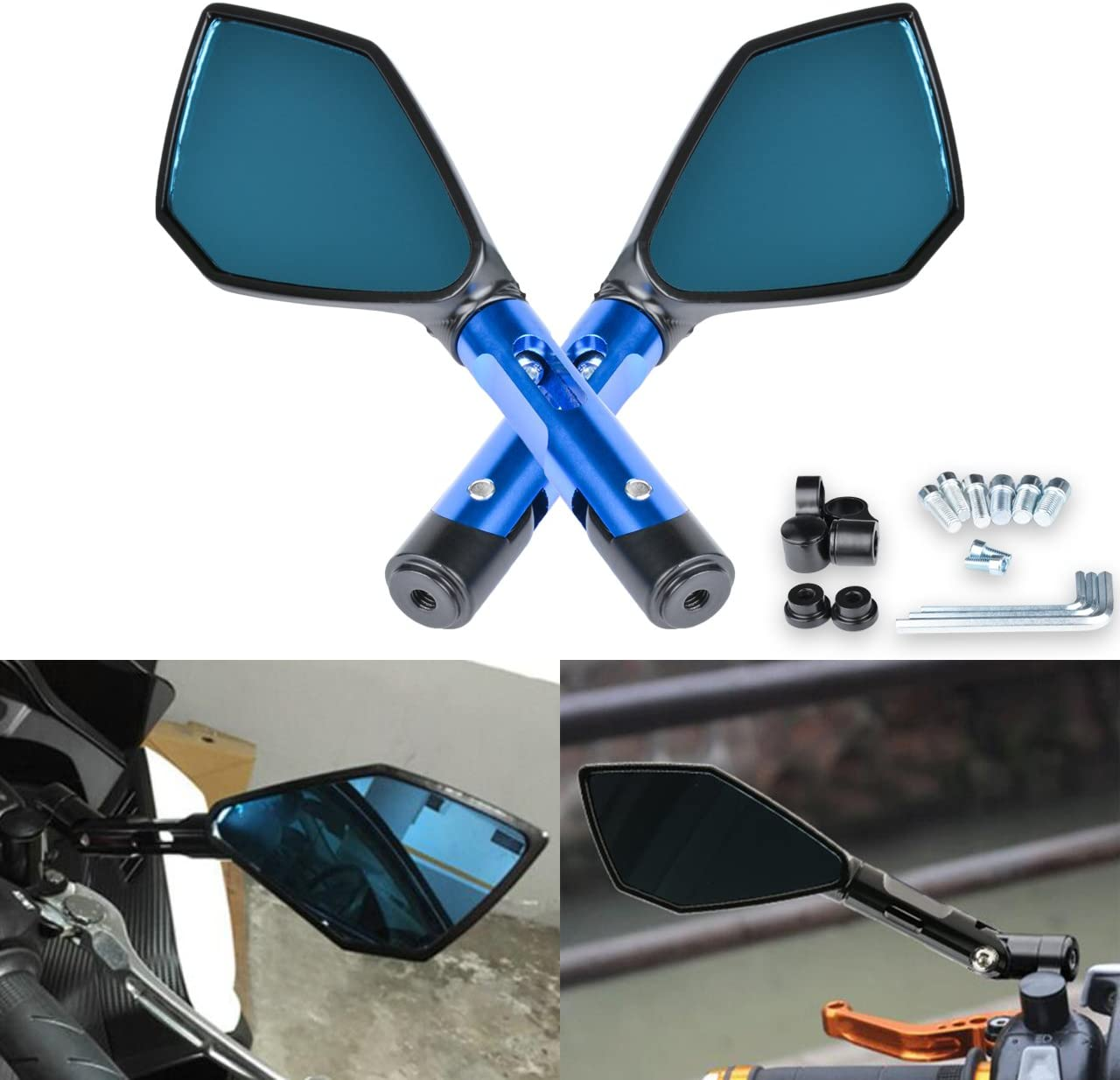 White KIMISS Motorbike Rearview Mirror 1 Pair of Universal Motorcycle Rhombus Reflective Rearview Mirror Modified Accessory