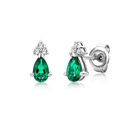 0de5ec5506 Miore Orecchini Donna Piccoli a Lobo con Diamanti taglio Brillante Smeraldo  Oro Bianco 9 Kt / 375: Amazon.it: Gioielli