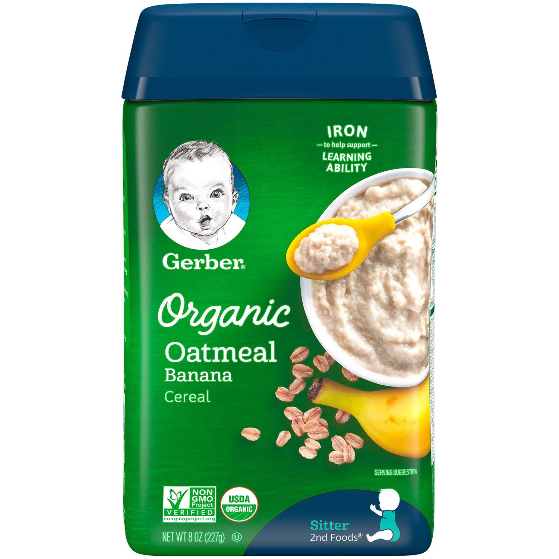 Gerber Baby Cereal Organic Oatmeal with Banana, 8 oz