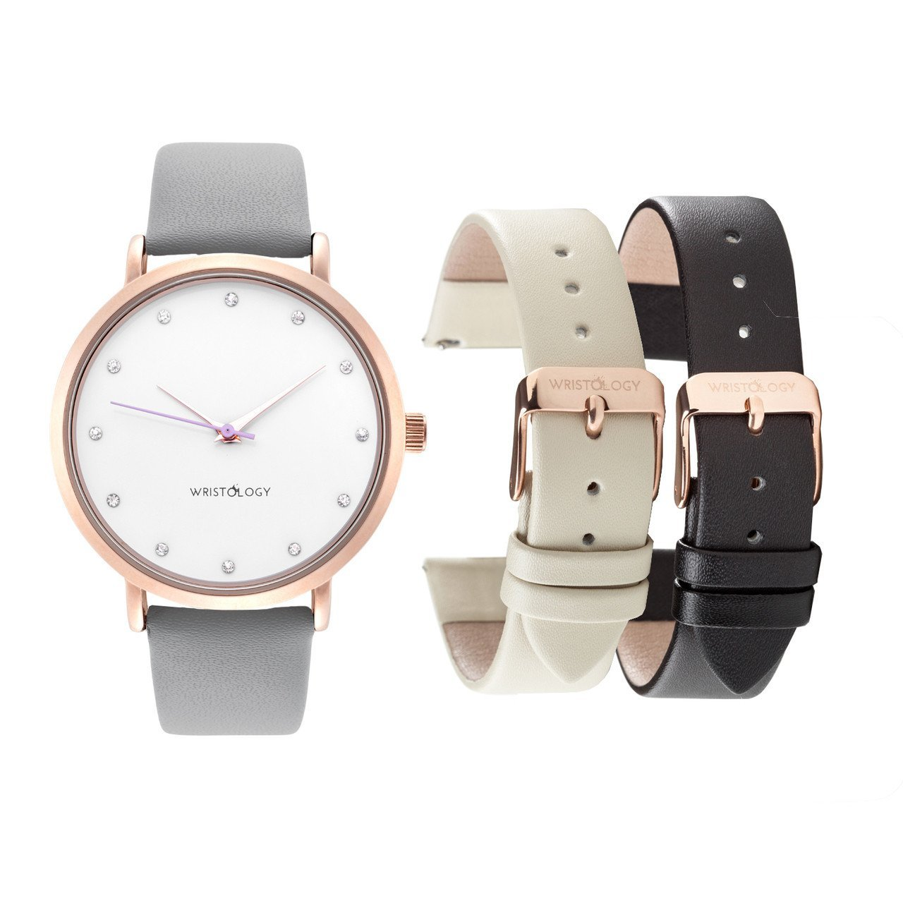 WRISTOLOGY Olivia Womens Rose Gold Crystal Boyfriend Watch Set 3 Straps Grey, Black Beige Leather Bands