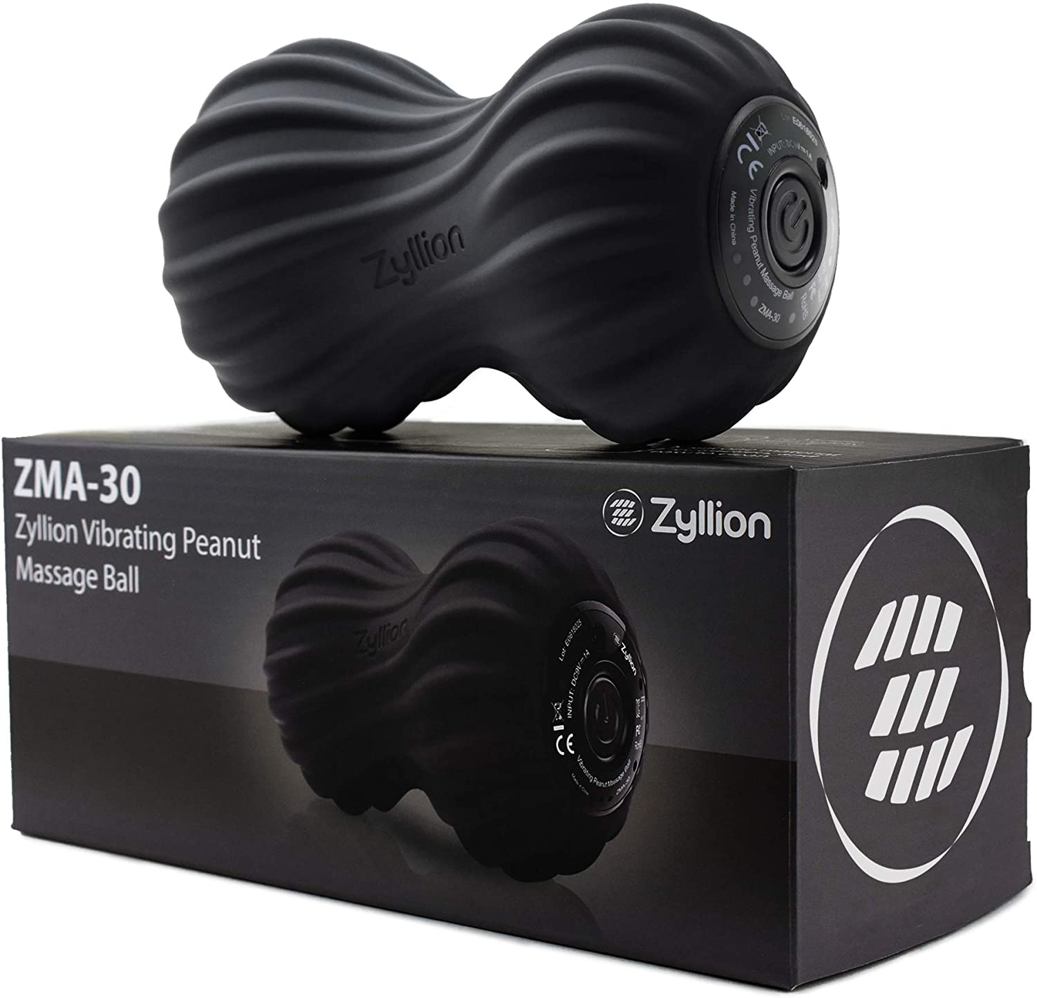 Zyllion Vibrating Peanut Massage Ball - Rechargeable Muscle Roller for Trigger Point Therapy, Deep Tissue Massage, Myofascial Release and Sports Recovery (Black)